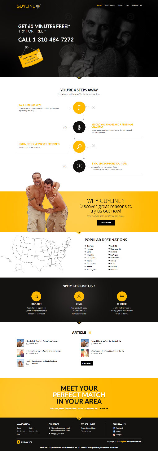 Website screenshot of GuyLine.com