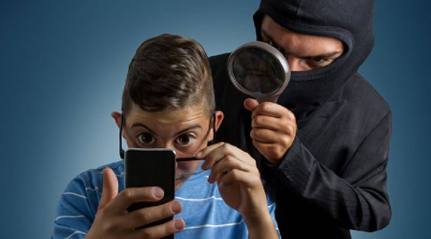 Child being scam by thief on the phone