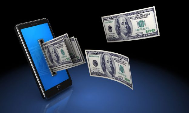 Money coming out of a mobile phone. Chatline business concept