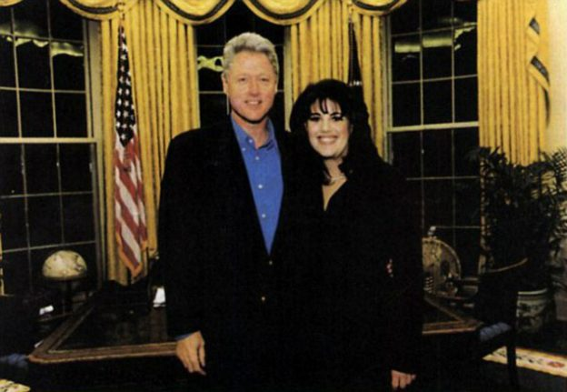 Bill and Monica Posing in the Oval Office