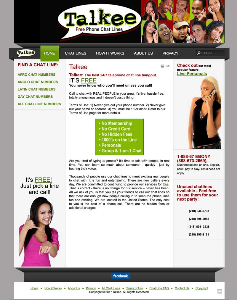 Talkee Chatlines Website Screenshot