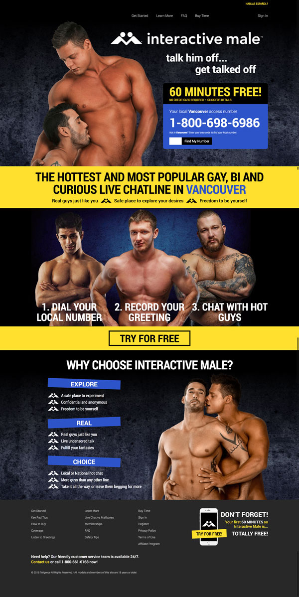 Screenshot of Interactive Male's Homepage