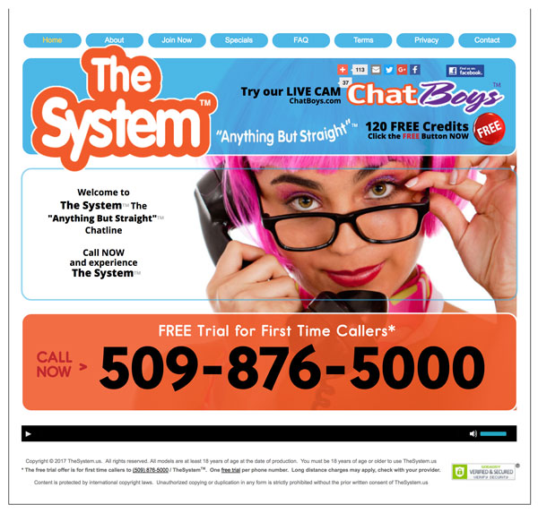 Screenshot of TheSystem Chat Line Website